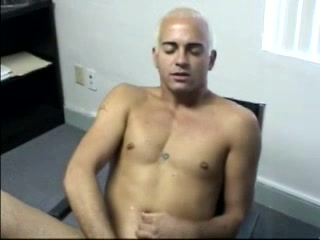 Gay With Dyed Hair Pleases Himself With Masturbation In An Office